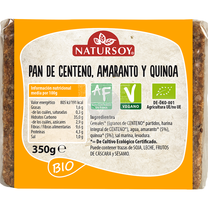 PAN DE CENTENO AMARANTO Y QUINOA BIO VEGANO NATURSOY