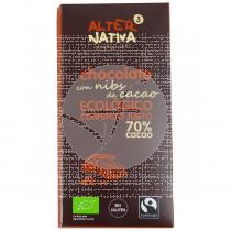 CHOCOLATE CON NIBS DE CACAO 70% CACAO BIO COMERCIO JUSTO ALTERNATIVA 3