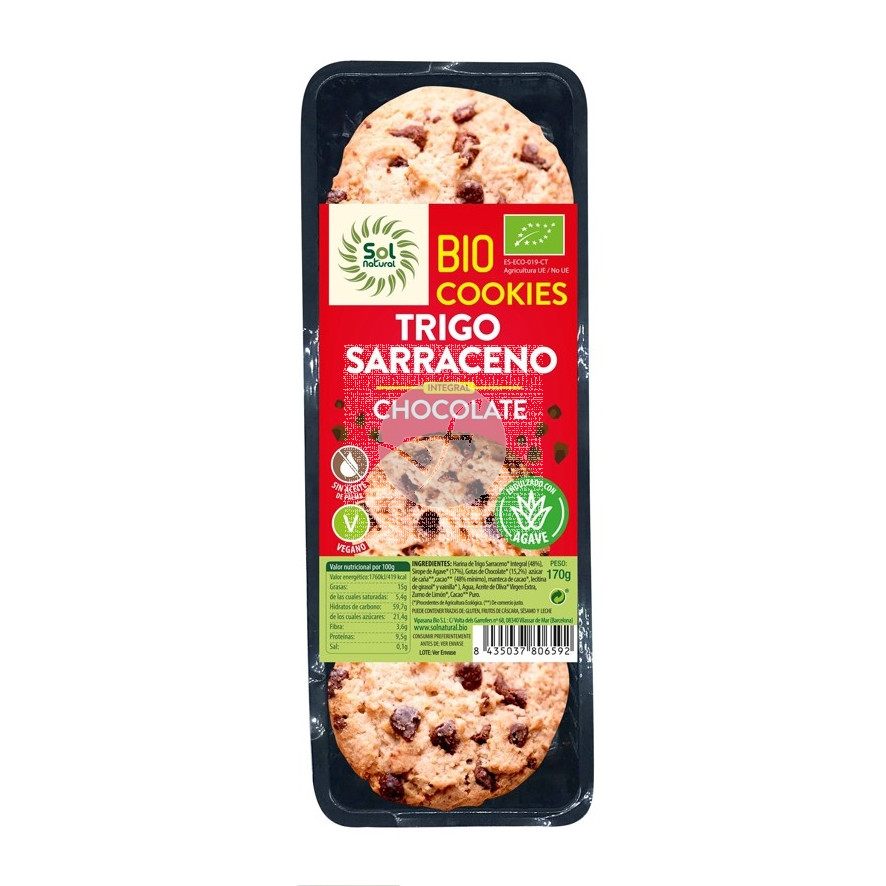 Galletas cookies trigo sarraceno y choco Bio Vegan 170gr Solnatural