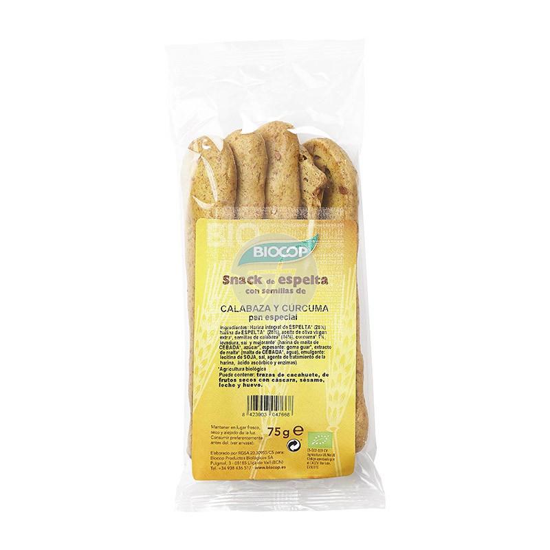 Snack De Espelta Calabaza y Curcuma Bio Biocop