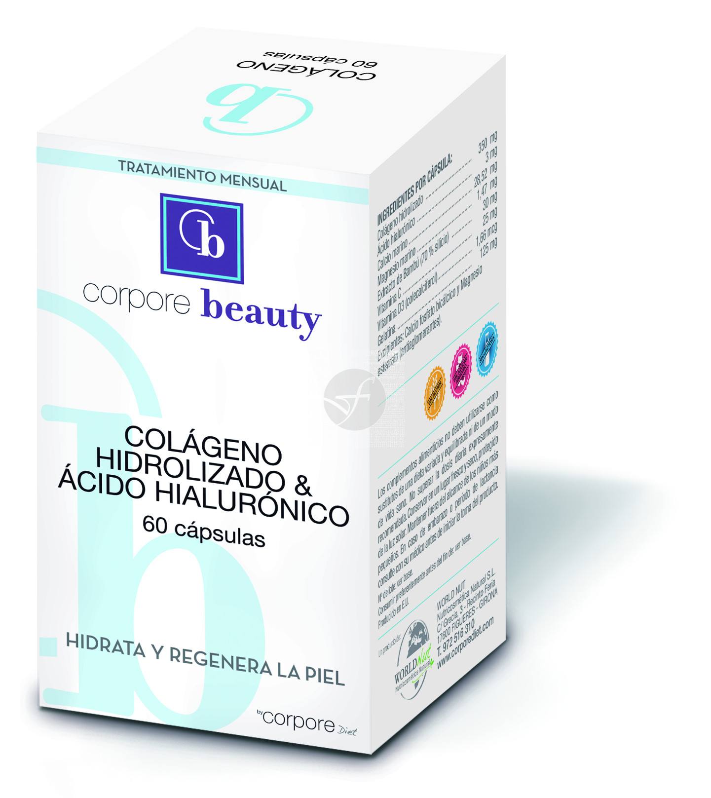 Colageno Hidrolizado Acido Hialuronico 60 capsulas Corpore Beauty