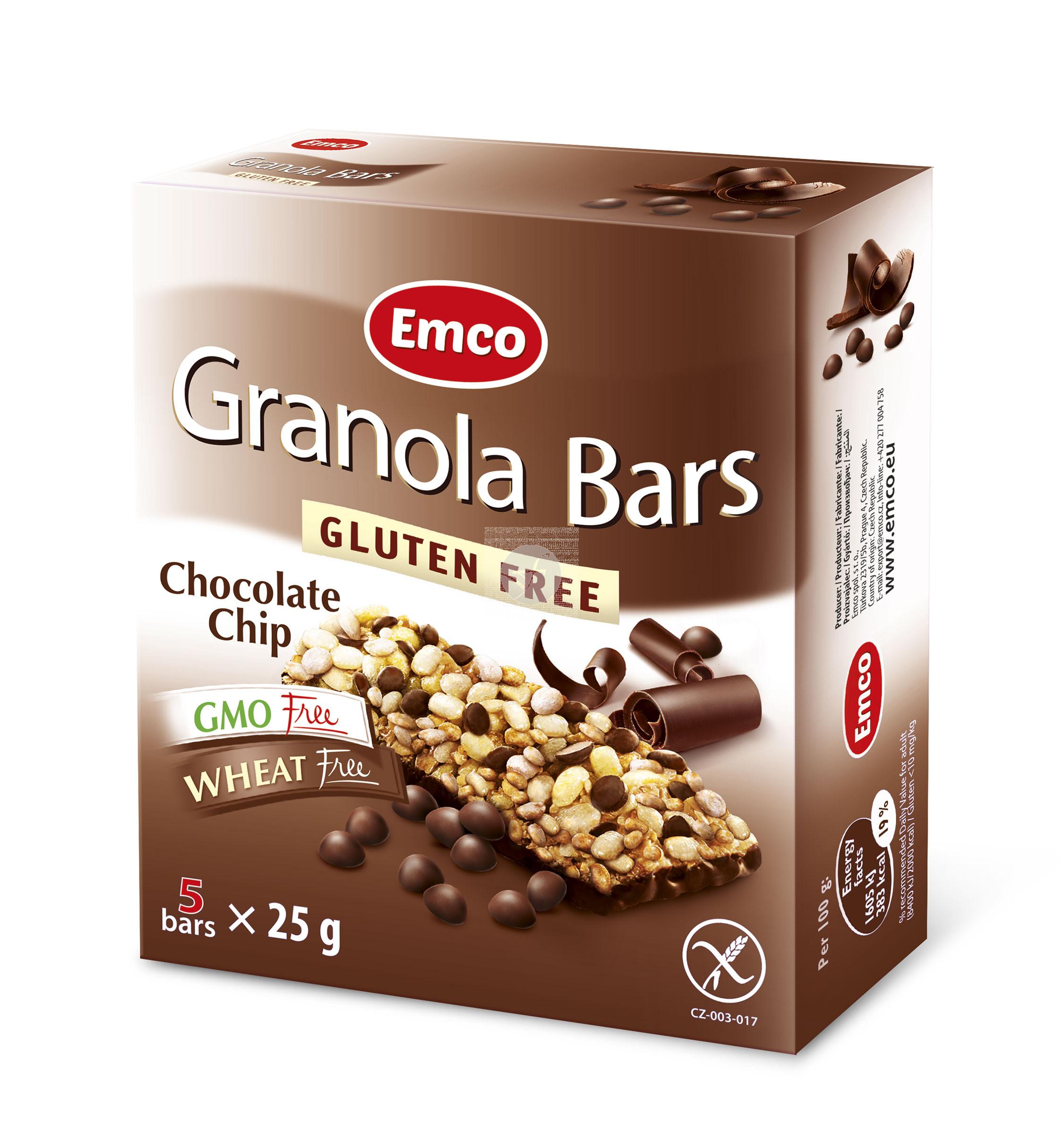 Barritas De Cereales con Choco Chips sin gluten Emco