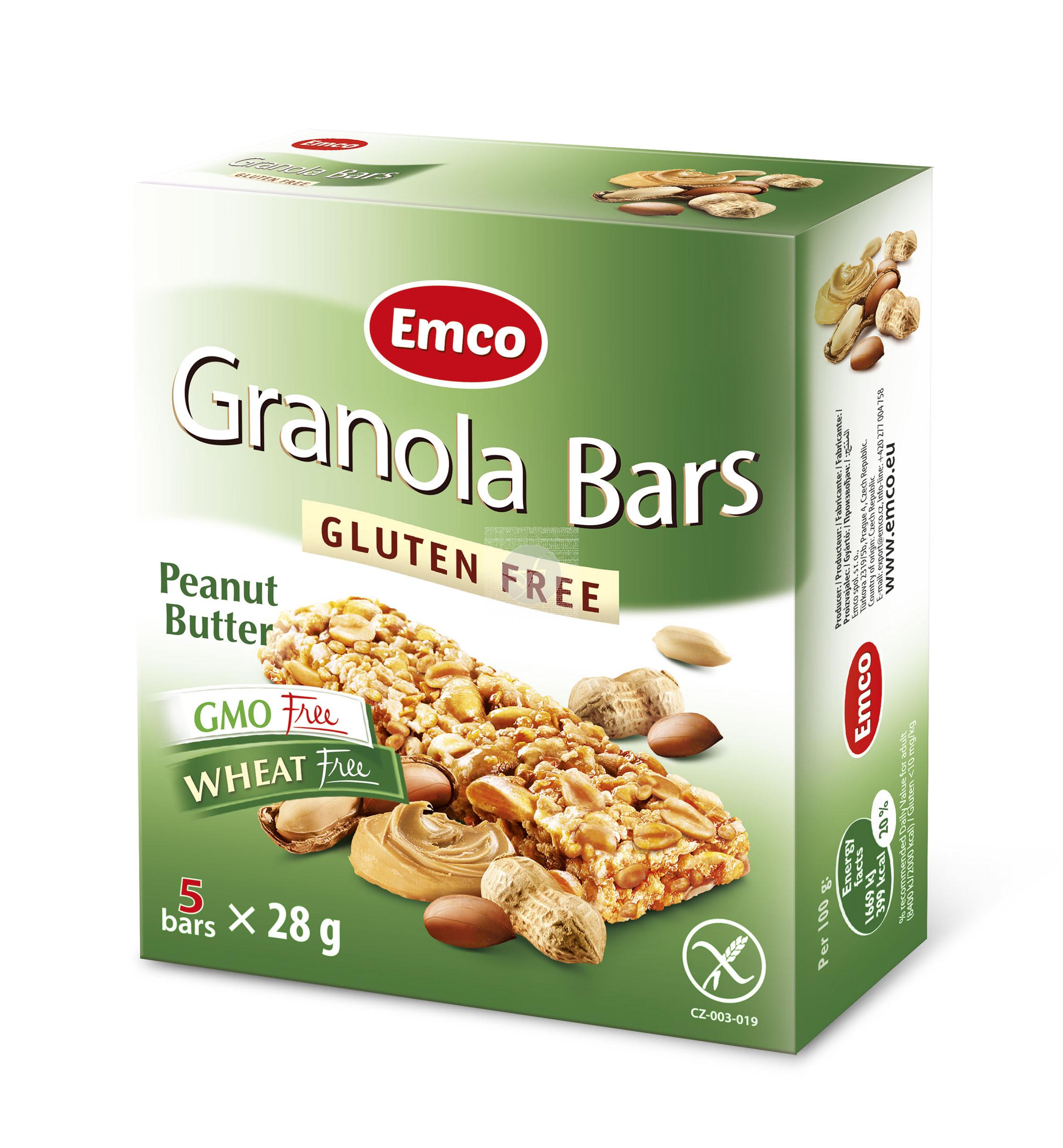 Barritas De Cereales con Mantequilla De cacahuete sin gluten Emco