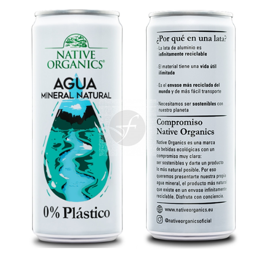 Agua mineral en lata 300ml Native Organics