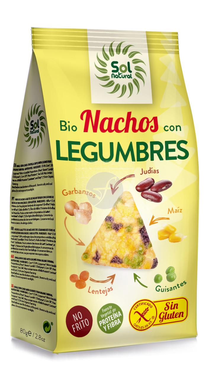 NACHOS DE MAIZ CON LEGUMBRES SIN GLUTEN BIO SOLNATURAL