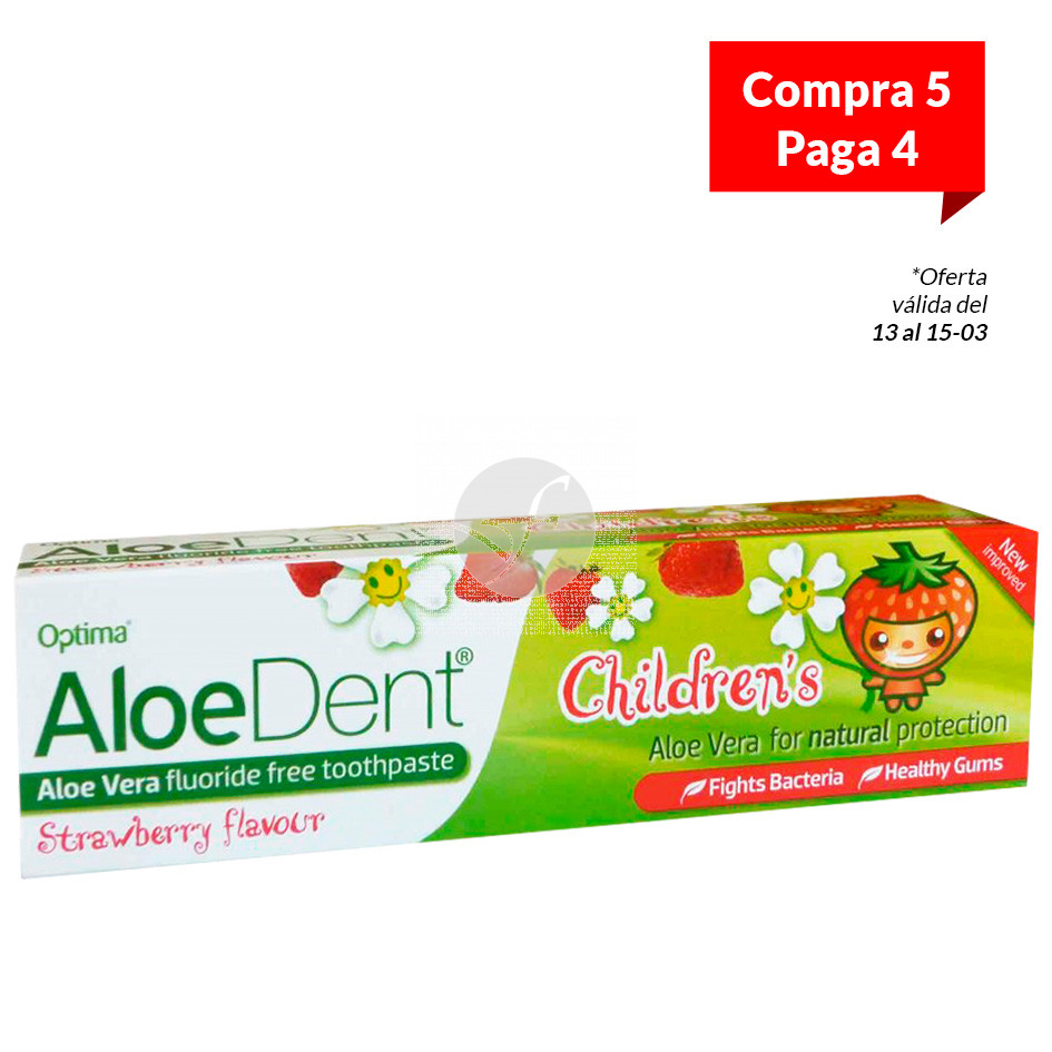 Dentífrico AloeDent Para Niños sabor Fresa 50ml Optima