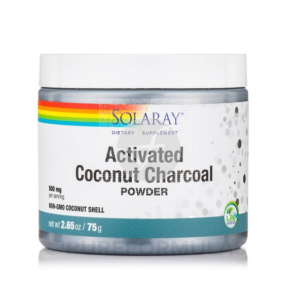 Activated Coconut Charcoal Carbon Activo polvo Solaray