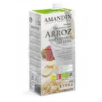 Bebida Vegetal De Arroz con Fresa y Platano Eco Amandin