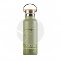 botella Bbo Termo De Inox verde con Tapón Bambú Irisana