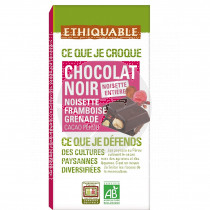 Tableta chocolate negro con avellana y frambuesa Bio 100gr Ethiquable