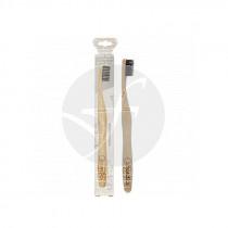 Cepillo dental de bambú adultos carbón activo Nordics Oral Care
