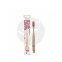 Cepillo dental de bambú niños rosa Nordics Oral Care