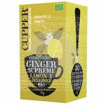 Infunsion limon y jengibre bio vegano sin azucar 20 bolsitas Cupper