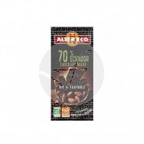 Chocolate negro ecuadro 70% Bio 100gr Altereco