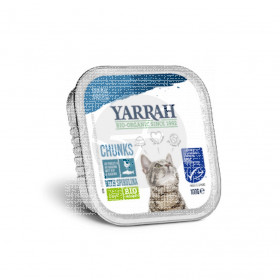 Tarrina para gatos trozos con Pescado Bio 100gr Yarrah