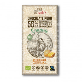 Chocolate Negro 56% con Naranja Eco Chocolates Sole