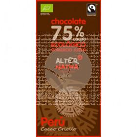 CHOCOLATE 75% CACAO PERU BIO COMERCIO JUSTO ALTERNATIVA 3