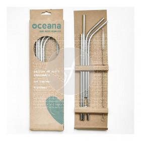 Pajitas de acero ecológico vegano zero waste 4uds. Oceana