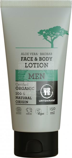 Locion Facial corporal Men Aloe y Baobab organico Vegano 150ml Urtekram